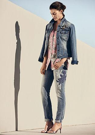 Curvy extra slim: jeans met borduursel