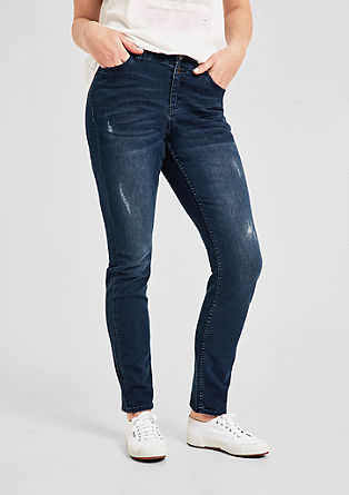 Curvy Extra Slim: Destroyed-Denim