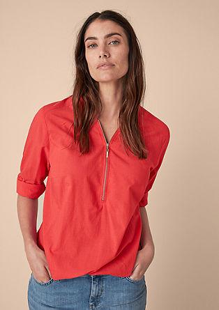 Zipper-Bluse mit Gummibund