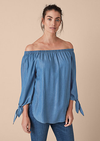 Bluse im Denim-Look