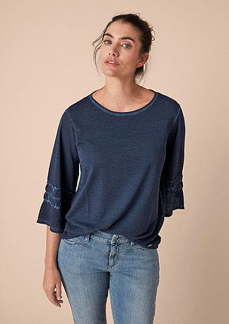 Pigment Dye-Shirt mit Volantärmel