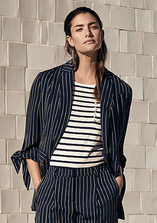 Pinstriped blazer with knot details from s.Oliver