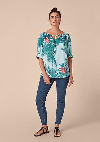 Blusenshirt mit tropischem Print