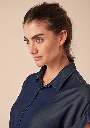 Denim blouse van lyocell