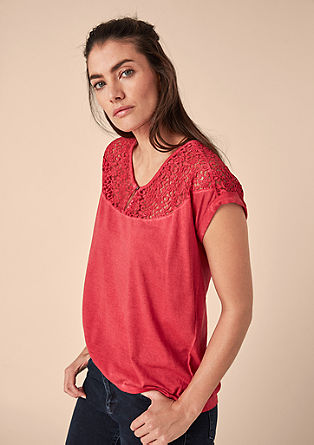 Jersey top with lace from s.Oliver