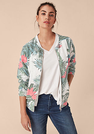 Sweatshirt bomber jacket with a tropical printed pattern from s.Oliver