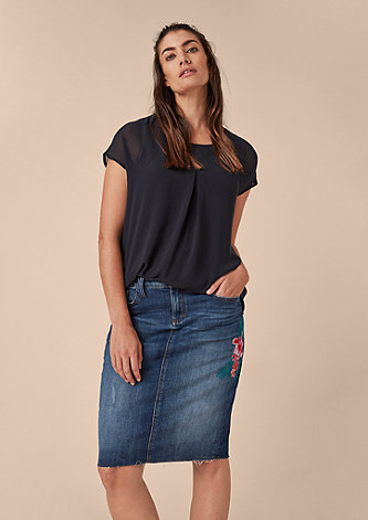 Jeansrock mit Embroidery