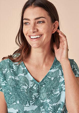 V-Shirt im Fabric-Mix