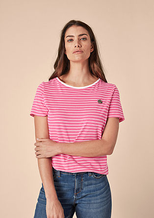 Striped top with a pin badge from s.Oliver