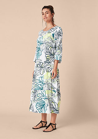 Crêpe flounce dress with a tropical print from s.Oliver