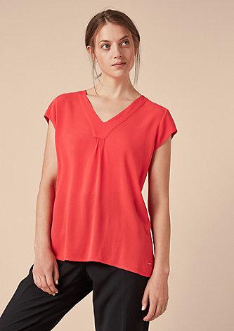 V-Neck-Bluse aus Crêpe