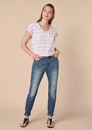 Shirt met V-hals en motiefprint