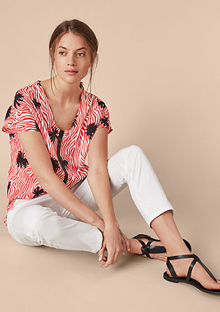 V-neck blouse top with printed pattern from s.Oliver