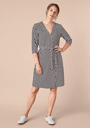 V-Neck-Kleid mit grafischem Muster