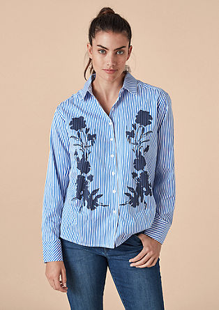 Striped blouse with a print from s.Oliver