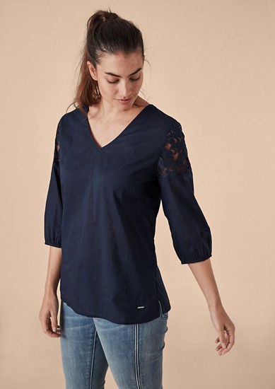 Delicate cotton blouse with lace from s.Oliver