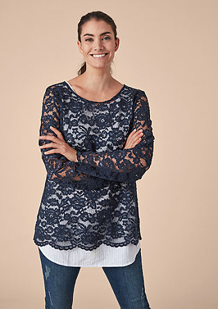 2-in-1 blouse with a lace top from s.Oliver