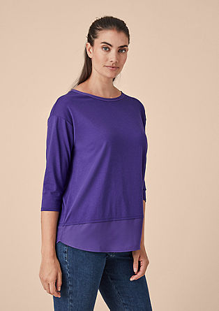 Jersey top with chiffon details from s.Oliver