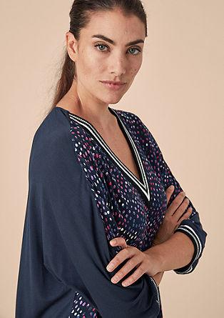 Shirt met ribboordjes, van een materiaalmix