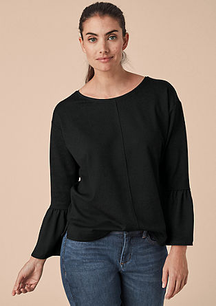 Sweatshirt with blouse details from s.Oliver