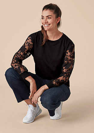 Sweatshirt with lace sleeves from s.Oliver