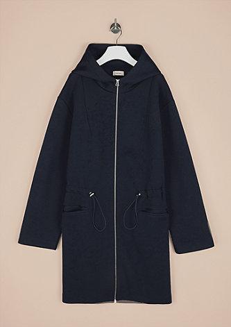 Mantel in Scuba-Optik mit Kapuze