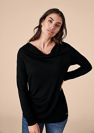 Viscose shirt met inside-out bies
