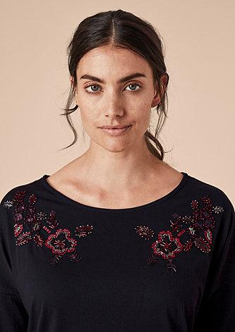 Jerseyshirt mit Schmucksteinen