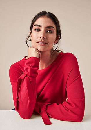Fijngebreide trui met strikdetail