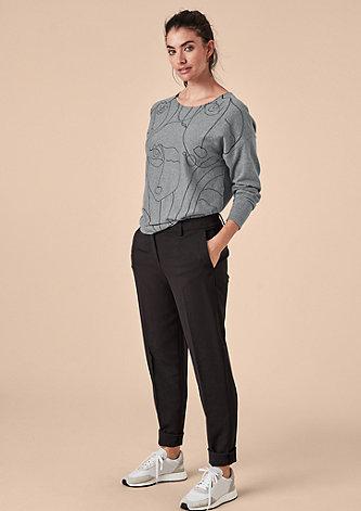 Pullover mit Konturlinien-Print
