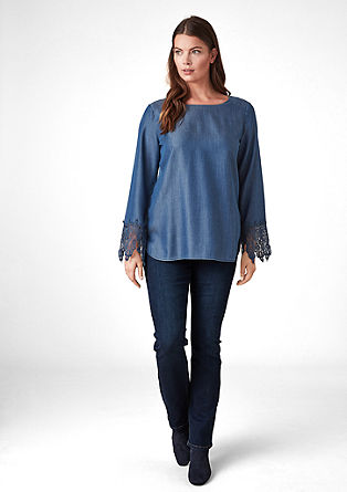Lyocell blouse with lace from s.Oliver