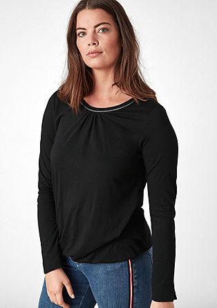 Langarmshirt mit Lurex-Paspel