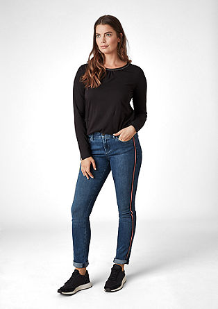 Curvy Extra Slim: jeans with tuxedo stripes from s.Oliver