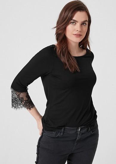 Jersey shirt met kanten details