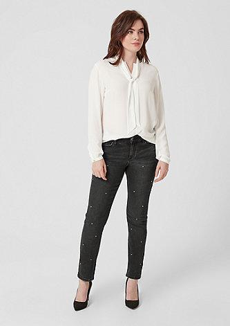 Curvy Slim Leg: Jeans mit Schmucksteinen