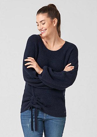 Pullover mit Raffung und Schleife