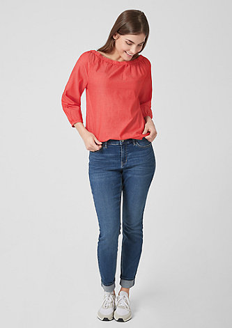 Off Shoulder-Bluse aus Chambray