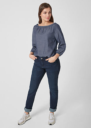 Off-the-shoulder chambray blouse from s.Oliver