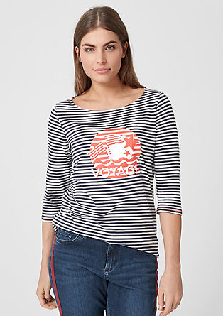 Gestreept shirt met print