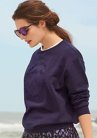 Sweatshirt pulover prevelikega kroja z vtisnjenim potiskom