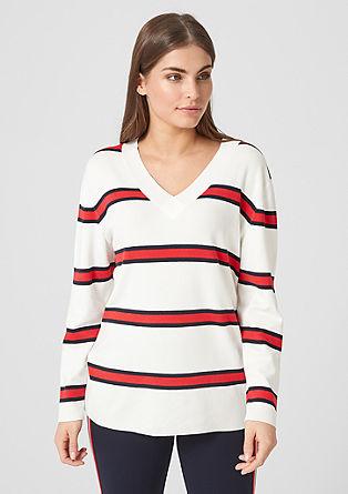 Strickpullover im Streifen-Look