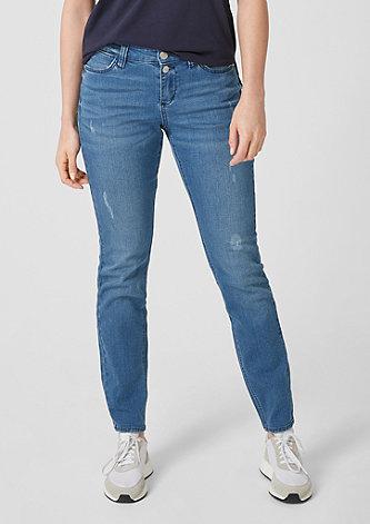 Curvy Extra Slim Leg: Destroyed-Denim