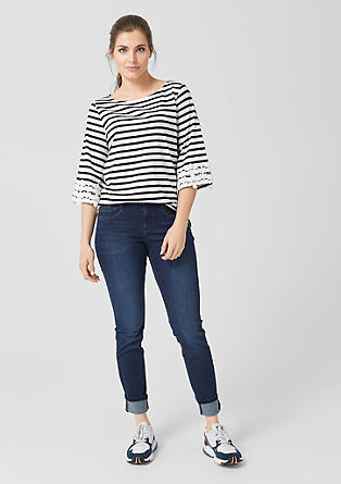 Striped top with lace details from s.Oliver