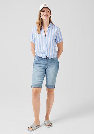 Gestreepte canvas blouse