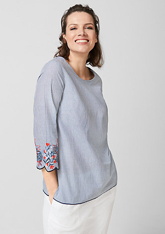 Gestreifte Bluse mit Embroidery
