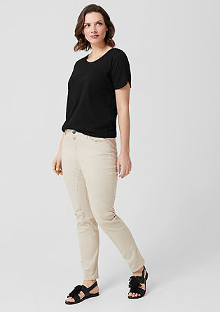 Jersey shirt met chiffon detail