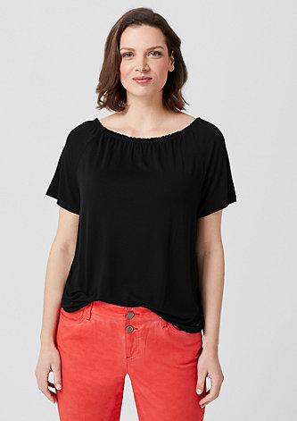 Jerseyshirt mit weitem Ausschnitt