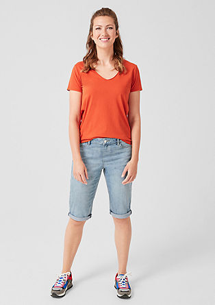 Jersey shirt met V-hals
