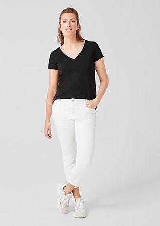 Shirt met V-hals en glanzende rand