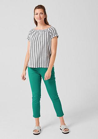 Off Shoulder-Shirt mit Streifen